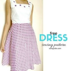 Free pattern ( draft) to sew a simple A line dress / gown for girls with step by step sewing instructions