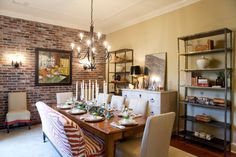 Bench seat with regular chairs around table
