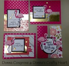 Golden flamingos by Donna Cosgrove. Inspired by Susan Williams using CTMH Cut Above CTMH Happy Times CTMH Tickled Pink and Thin Cuts