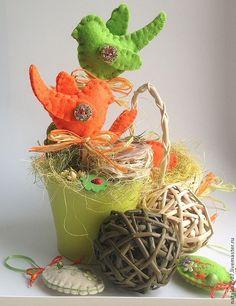 Купить Птички. Пасхальный декор - салатовый, оранжевый, птички, птичка на ветке, весна, Пасха