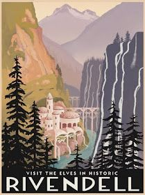 Travel posters for The Shire, Rivendell, and Misty Mountains by Steve Thomas