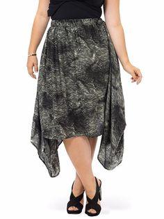 Corey Skirt Asymmetrical Drape Brushstroke Print Handkerchief Hem Plus Sz 2X NWT #Corey #Asymmetrical
