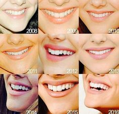 Different years of Ariana Grande smile
