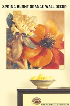 This is a beautiful piece of floral burnt orange wall decor. Love the large floral canvas print. Orange Wall Art, Orange Walls, Floral Wall Art, Flower Wall Decor, Canvas Wall Decor, Wall Art Decor, Fish Wall Art, Wall Decorations, Home Wall Art