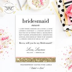 Bridesmaid Gift - Will You Be My Bridesmaid Definition Wine Bottle Labels - Faux Glitter Personalized - Bridesmaid Proposal Maid of Honor