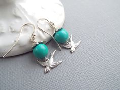 SWALLOWS RETURN   Swallow Bird Earrings  Sterling by byLaurieB
