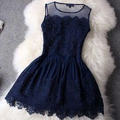 Navy lace dress. https://hitcolor.myshopify.com/collections/dress/products/unique-hollow-out-hook-flower-with-lace-skirt
