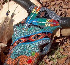 Cow Skull ~ Trail of Tears - Original Mosaic Bull Skull Deer Skull Art, Cow Skull Decor, Deer Skulls, Deer Horns, Painted Animal Skulls, Buffalo Skull, Mosaic Animals, Antler Art, Trail Of Tears