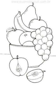 fruit basket coloring pages Art Drawings For Kids, Pencil Art Drawings, Art Drawings Sketches, Drawing For Kids, Easy Drawings, Fruit Coloring Pages, Coloring Book Pages, Coloring Pages For Kids, Fruits Drawing