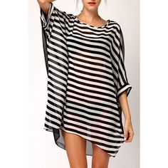 Sexy Scoop Neck Batwing Sleeves Striped See-Through Bikini Cover For Women