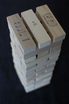 musical Jenga grade-- so many possibilities! one side is harder than the other for more advanced musical students. Piano Lessons, Music Lessons, Singing Lessons, Singing Tips, Music Education Lessons, Piano Games, Music Games, Music Theory Games, Middle School Music