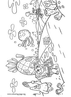 A nice coloring page with the underwater city of Bikini Bottom! In this picture we can see some characters as Spongebob, Patrick and Squidward! Cartoon Coloring Pages, Coloring Book Pages, Coloring Pages For Kids, Flower Coloring Sheets, Colouring Sheets For Adults, Spongebob Coloring, Spongebob Painting, Cartoon Caracters, Spongebob Birthday Party