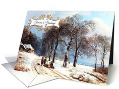 Season's Greetings. Vintage Country Winter Scene old painting  Christmas Greeting Cards with personalized inside greeting. at greetingcarduniverse.com