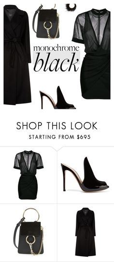 """All black #1"" by paradise-inc ❤ liked on Polyvore featuring Balmain, Gianvito Rossi, Chloé, Weekend Max Mara, Salvatore Ferragamo and allblack"