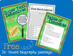 """FREE Dr. Seuss biography passage that lets kids color-code the answers! It really forces them to go back and find text evidence- and they LOVE it! Just have to download the """"preview"""" file."""