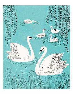 Art Print: Swan's Swimming Art Print by Pop Ink - CSA Images : 24x18in