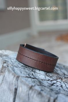 Love this dark brown leather cuff. Put your own hand stamped message. Visit shop for details. #leathercuffs #cuff #inspirationcuffs