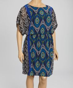 Put some on-trend appeal in an ensemble with this pretty ikat piece. With flowing cape sleeves and a loose-fitting silhouette that boasts a cinched waist for ultra-flattering fashion, this glamorous getup will soon become a steadily stunning staple.