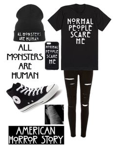 """American horror story..."" by emo-kyleigh ❤ liked on Polyvore featuring CO and Converse"
