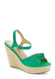 Crown Julep Wedge - Green, Daytime Party, High, Platform, Wedge, Solid, Beach/Resort