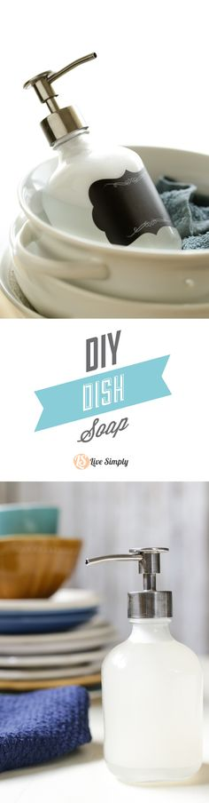 A super easy and effective DIY dish soap recipe! This actually cleans dishes, deodorizes, and cuts grease! Natural, homemade, and easy! http://livesimply.me/2015/04/04/easy-diy-dish-soap/