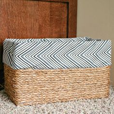 how to make a basket out of an ordinary cardboard box - this simple DIY project costs less than $5 in supplies and doesn't require any sewing!