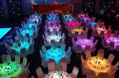 Awesome colorful #tableglow using #uplights. Love it! Photo via #EsLaModa by marie_rentmywedding