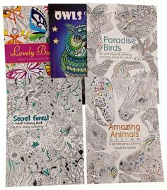 Adult Coloring Books Lot 5 Forest Animals Birds Owls Butterflies Quality Paper