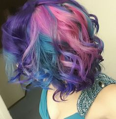 purple blue and pink hair