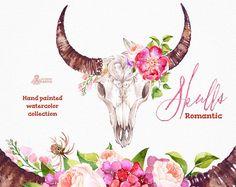 Cráneos romántico. Acuarela cráneos con cuernos y flores, Toro, vaca cráneo, mano pintada, peonias, flores, frases, tribal, boho, headbull
