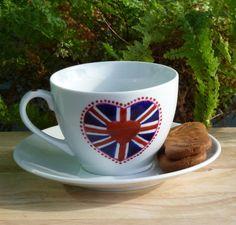 Jubilee Tea Cup: Union Jack Heart - Folksy