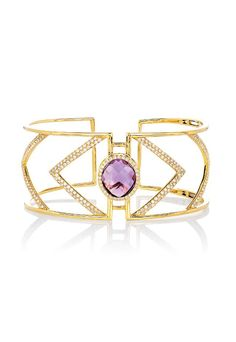 Geo cuff bangle in 14k yellow gold with amethyst and diamonds by EFFY