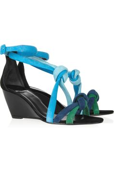 Pierre Hardy|Knotted suede wedge sandals|NET-A-PORTER.COM