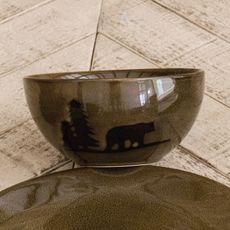 Moose and Bear Lodge Stoneware Bear Bowl