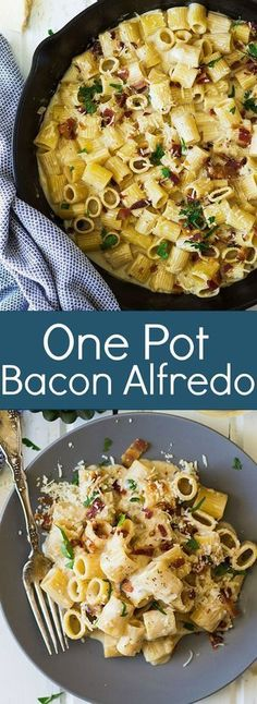easy one pot meals This One Pot Bacon Alfredo is a quick and easy weeknight meal that's full of flavor! One Pot Dinners, Easy One Pot Meals, Easy Weeknight Meals, Quick Meals, Easy Dinners, Fettucine Alfredo, Pasta Alfredo, Main Meals, So Little Time