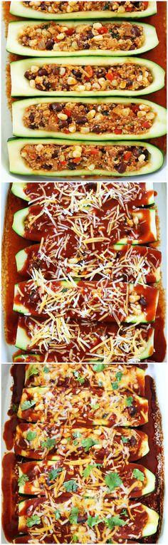 Black Bean and Quinoa Enchilada Zucchini Boats