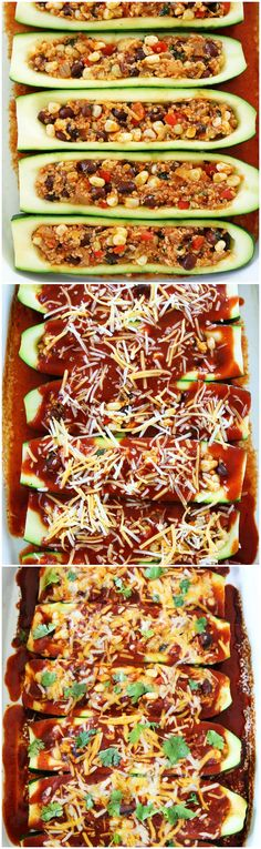 Black Bean and Quinoa Enchilada Zucchini Boats Recipe on twopeasandtheirpod.com This meal is a family favorite! Even our kids gobble it up!