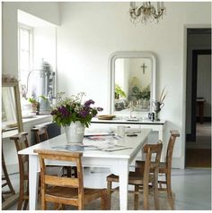effect of white table with wood chairs