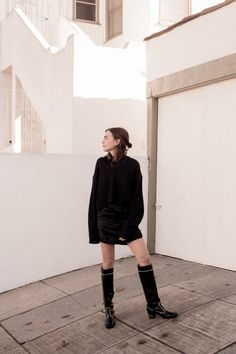 short boxy dress and knee boots
