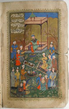 From the Harvard Art Museums' collections Timur Holding Court in a Garden (painting, verso), Text (recto), illustrated folio from a Manuscript of the Timurnama by Hatifi Mughal Miniature Paintings, Holding Court, Harvard Art Museum, Sumerian, Garden Painting, Central Asia, Persian Carpet, North Africa, Islamic Art