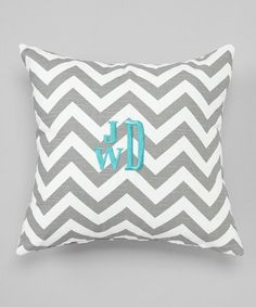 Take a look at this Gray Chevron Personalized Pillow by Caught Ya Lookin' on #zulily today!