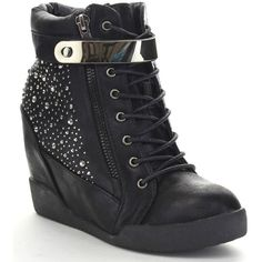 Nature Breeze Frontrunner-03 Women's Studded Lace-up Side Zip Wedge... (295 DKK) ❤ liked on Polyvore featuring shoes, boots, ankle booties, black, lace up boots, lace up platform booties, lace up booties, wedge bootie and lace up ankle boots