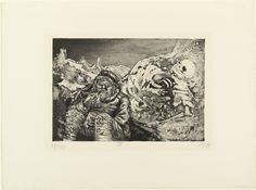 """Otto Dix """"Mealtime in the Trenches"""" from Der Krieg (The War), 1924, etching with aquatint BERLIN DADA"""