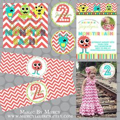 Party Printable Pack Monster Birthday Bash by marcylauren on Etsy, $30.00