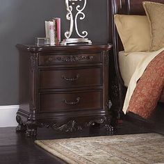 Homelegance Deryn Park Cherry Asian Hardwood Nightstand at Lowe's. Great design and solid build quality. Cheap Bedroom Furniture, Cool Furniture, Kitchen Furniture, Luxury Furniture, Painted Furniture, Furniture Ideas, Discount Furniture, Online Furniture, Furniture Stores