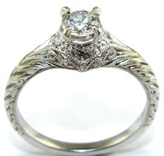 engagement rings vintage | Platinum Diamond Antique Style Filigree Engagement Ring