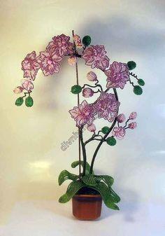 1253-орхидея из бисера