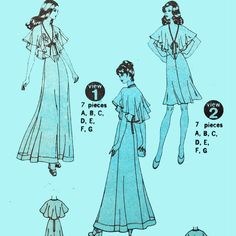 Vintage 70s Maxi Dress Pattern / Simplicity 6898 Bohemian Party Dress / Empire Waist Halter Dress & Cape Collar / Size 12. $7.50, via Etsy.