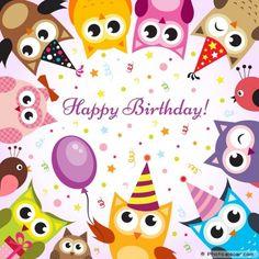 Birthday card with owls