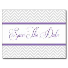 Gray Chevron Modern Purple Lines Save The Date #savethedates #chevron #zigzags #modern #trendy